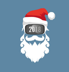 Santa claus wearing virtual reality glasses vector