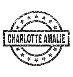 Scratched textured charlotte amalie stamp seal vector