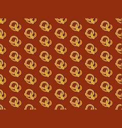 seamless pattern delicious pretzels hand-drawn vector image