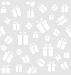 seamless pattern with white gift boxes on a gray vector image vector image