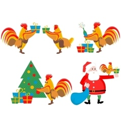 set of the cock and Christmas vector image