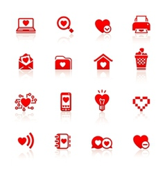 Set valentines day red symbols vector