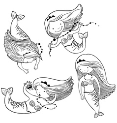set with cute mermaids vector image