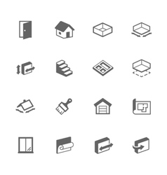 Simple Building House Icons vector image