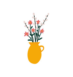 Spring flowers and sprigs willow in vase vector