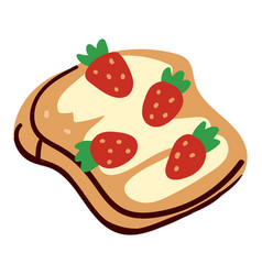 Strawberry sandwich with creamy top and sweet vector