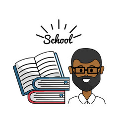 Teacher with open notebook and books vector