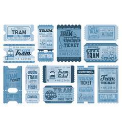 Tram tickets retro city public rail transport vector