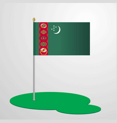 Turkmenistan flag pole vector