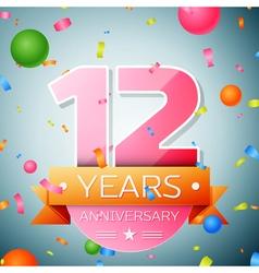 Twelve years anniversary celebration background vector