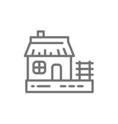 Ukrainian hut traditional village house line icon vector
