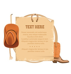 Western cowboy hat and american lasso old paper vector