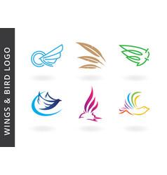 Wings and birds logos vector