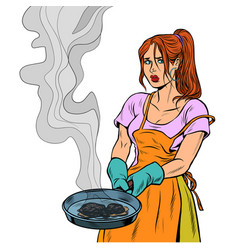woman and a food burnt in a frying pan vector image