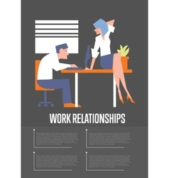 Work relationships banner with businesspeople vector image