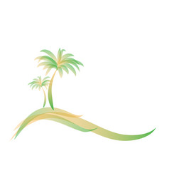 yellow green logo two palm trees on island on vector image