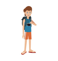 Young boy travel toruism package vector