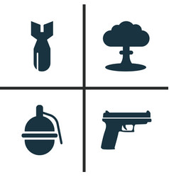 army icons set collection of weapons atom vector image vector image