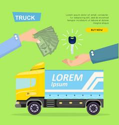 Buying truck online car sale web banner vector