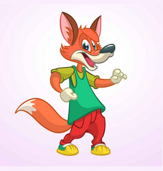 cartoon pretty fox dancing vector image vector image