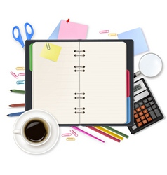 office notepad and office supples shut vector image vector image