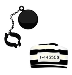 Prisoner hat and shackle vector image