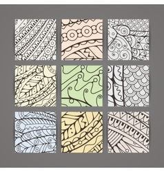 Set of four pastel intricate patterns vector