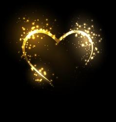 Sparkling heart on black vector image