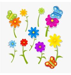 Abstract Colorful Flowers and Butterflies Isolated vector image vector image
