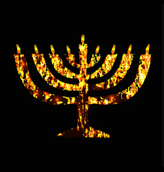 chanukia golden menorah jewish holiday hanukkah vector image