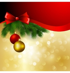 christmas background with bow and balls vector image