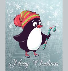 christmas postcard penguin on skates vector image