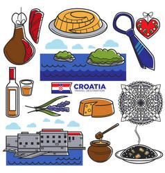 croatia tourism travel famous symbols and tourist vector image vector image