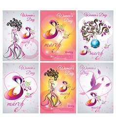 Set of greeting card template the Women day vector image vector image