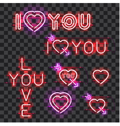 set of neon signs i love you vector image