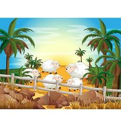 Sheep and farm vector image vector image