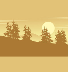 Silhouette of forest spruce art vector