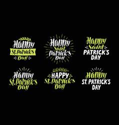 happy saint patricks day label set beer festival vector image