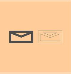 mail dark grey set icon vector image vector image