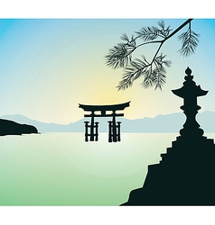 The Floating Otorii gate at Miyajima vector image vector image