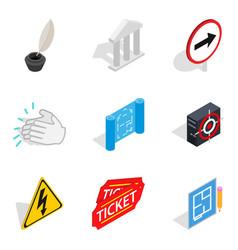 theatre icons set isometric style vector image