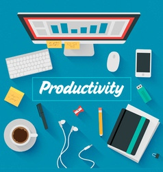 Trendy Flat Design Productive office vector image vector image