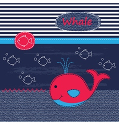 Cute baby background with whale vector image vector image