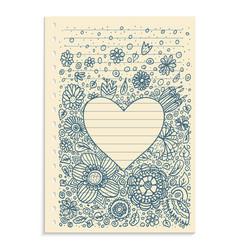 doodle pattern heart frame vector image