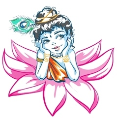 God Krishna in Lotus flower vector image