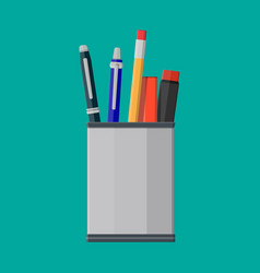pens pencil in holder vector image vector image