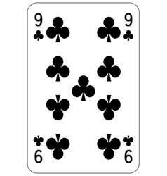 Poker playing card 9 club vector image vector image