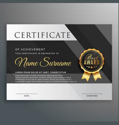 premium gold and black certificate design template vector image