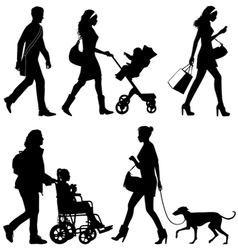 several people and one dog - silhouettes vector image