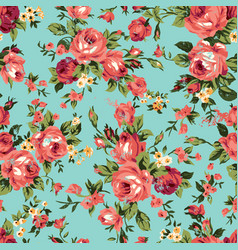 vintage chintz roses seamless pattern vector image vector image